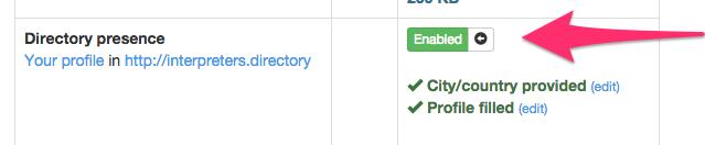 Enable profile in Interpreters' Directory
